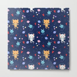 Super Cute Cats in Outer Space Pattern Metal Print