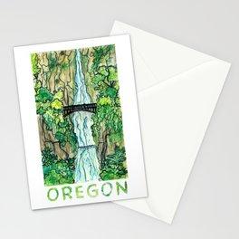 Multnomah Falls Oregon Travel Poster Stationery Cards