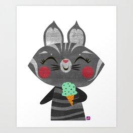 Ice Cream Cat Art Print