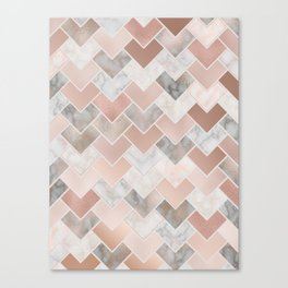Rose Gold and Marble Geometric Tiles Canvas Print