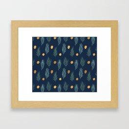 Gold dot and deep blue leaf pattern Framed Art Print