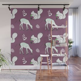 Wildlife - Happy Forest Animals Muted Berry Wall Mural