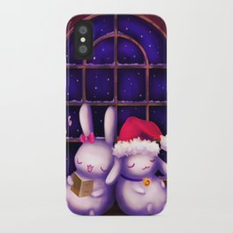 Chubby bunnies at christmas night iPhone Case