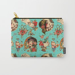 Makers Gonna Make Pattern Teal Carry-All Pouch