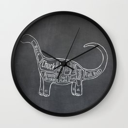 "Brontosaurus Dinosaurus (A.K.A Apatosaurus ""Big Cow"") Butcher Meat Diagram Wall Clock"