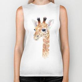 Baby Giraffe Cute Animal Watercolor Biker Tank