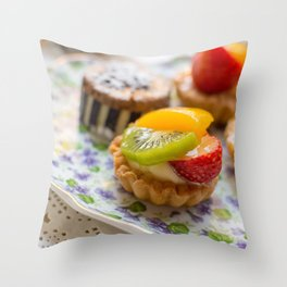 Small fruit tarts laid out on an antique china plate Throw Pillow