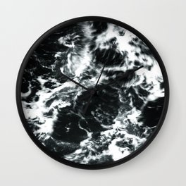 Waves - Black and White Abstract Wall Clock