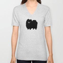 Cute Black Pomeranian Unisex V-Neck