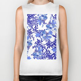 BLUE AND WHITE ROSE LEAF TOILE PATTERN Biker Tank