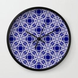 Baroque style blue pattern. Christmas motif. Wall Clock