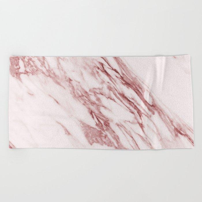 Deep rose pink marble Beach Towel