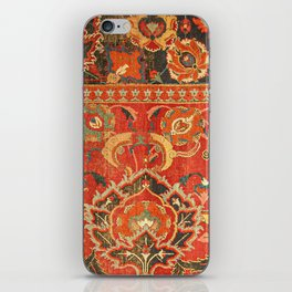 Red Arabic Rug I // 17th Century Colorful Firey Red Light Teal Sapphire Navy Blue Ornate Pattern iPhone Skin