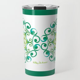 Grace Mandala x 2 - Green White Travel Mug