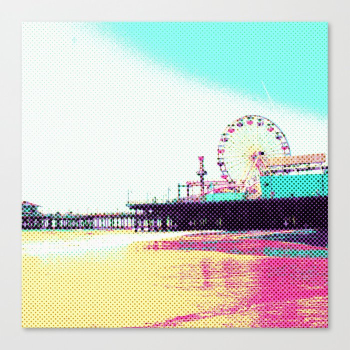 Prismatic Dots Santa Monica Pier Canvas Print on Society6