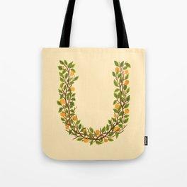 Leafy Letter U Tote Bag