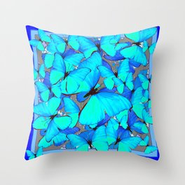 Shades of Turquoise Blue Butterflies Swarming Art Throw Pillow