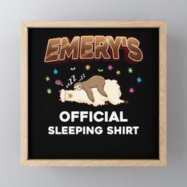 Emery Name Gift Sleeping Shirt Sleep Napping Framed Mini Art Print