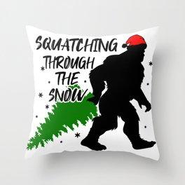 Christmas Attire Squatchin Through the Snow Sasquatch Big Foot Christmas Throw Pillow