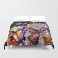 goku Duvet Covers featuring Goku & Gohan by Neo Crystal Tokyo