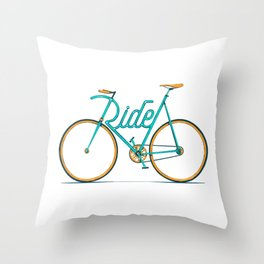 Ride Typo-Bike Throw Pillow