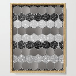 Silver Hexagon Glitter Glam #1 #geometric #decor #art #society6 Serving Tray