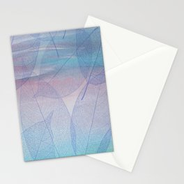 Painterly Pastel Leaves Abstract Stationery Cards