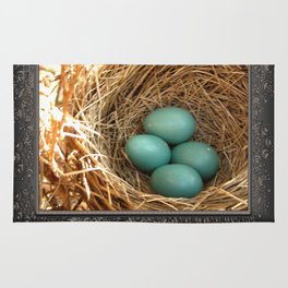 Four American Robin Eggs Rug