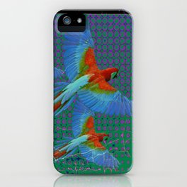BLACK-TEAL SHABBY CHIC TROPICAL BLUE MACAWS iPhone Case
