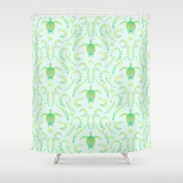 Sea Turtle Watercolor Pattern Shower Curtain