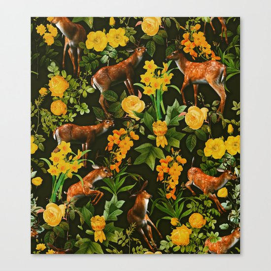 Deer and Floral Pattern Canvas Print
