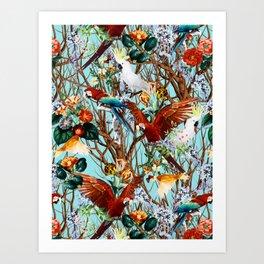 Floral and Birds XXX Art Print