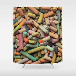 colored pastel chalks Shower Curtain