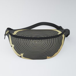 Metallic Gold Tree Ring on Black Fanny Pack