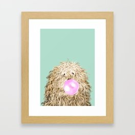 Puli Dog with Bubble Gum in Green Framed Art Print