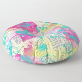 Abstract Mixed Media - Neon Floor Pillow