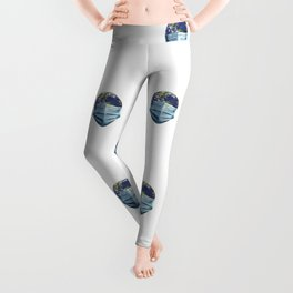 Earth With Face Mask Pandemic Concept Pattern Leggings