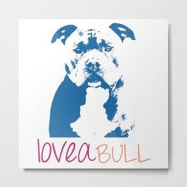 Loveabull, Pitbull Artwork, Digital Print Metal Print