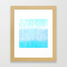Frosted Winter Branches in Misty Blue Framed Art Print