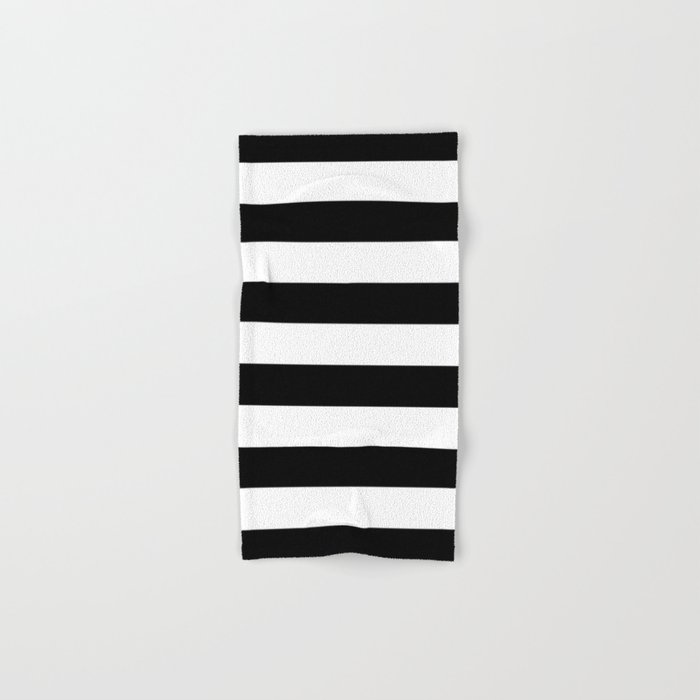Stripe Black & White Horizontal Hand & Bath Towel