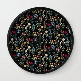 Spring Botanicals Black Wall Clock