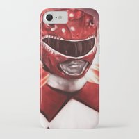 power ranger iPhone & iPod Cases featuring Red Power Ranger by SachsIllustration