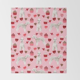 Bedlington Terrier cupcakes valentines day dog breed gifts for dog person Throw Blanket