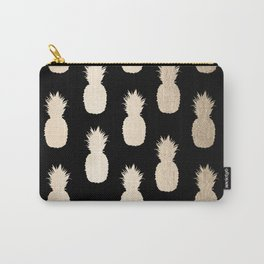 Gold Pineapples Pattern Black Carry-All Pouch