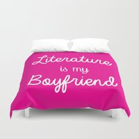 boyfriend Duvet Covers featuring literature is my boyfriend pink by Beautiful Bibliophile's Boutique