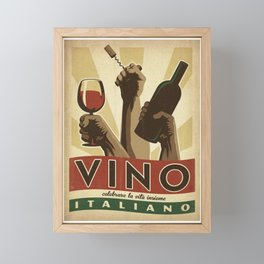 Vintage Vino Italiano - Italian Wine - Saluti - Advertisement Poster Framed Mini Art Print