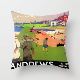 Vintage Travel Poster - St Andrews, The Home Of Golf Throw Pillow