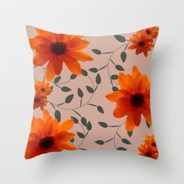 Orange Flowers and Vines Throw Pillow