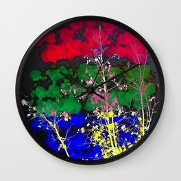 tree branch with leaf and painting texture abstract background in red green blue pink yellow Wall Clock