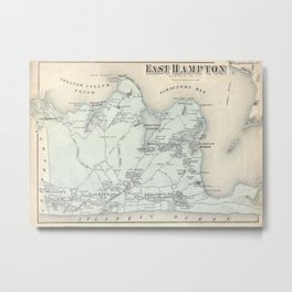 Vintage Map of East Hampton New York (1873) Metal Print